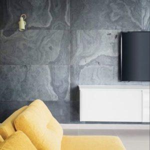 קירות מעוצבים על ידי אבן טבעית דקה - אבן סיב