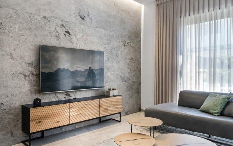 חיפוי קיר טלויזיה עם האבן האלסטית של אבן סיב ( עיצוב נירה דידי)