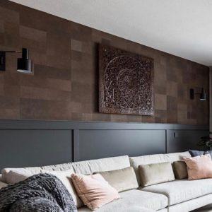 חיפוי קירות מעוצבים לסלון על ידי אריחי עור - אבן סיב